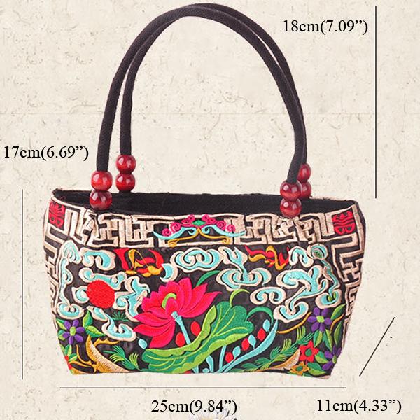 Ethnic Embroidery Flowers Bag Handbag Tote Bag