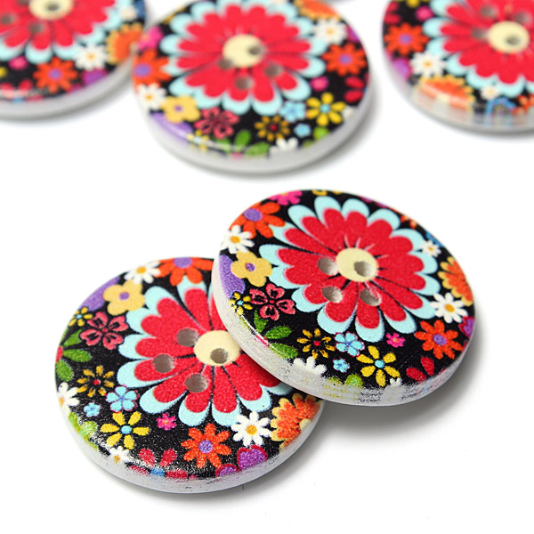 10pcs 30mm Colour Mixture Wooden Button Craft Colorful DIY Sewing Crafts Fresh Clothes Decoration