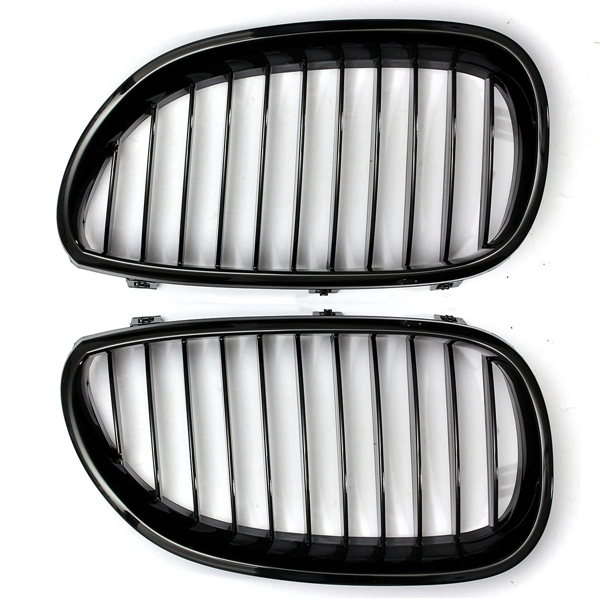 Pair Black Front Sport Wide Kidney Grille Grill for BMW E60 E61 5Series M5 03-10