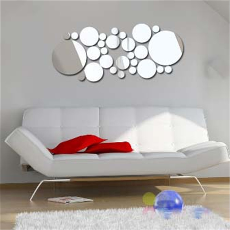 Honana DX-Y4 28Pcs Cute Silver DIY Circle Mirror Wall Stickers Home Wall Bedroom Office Decor