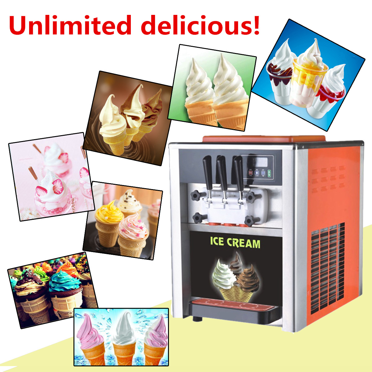 AC 110V/220V 3 Flavor Steel Commercial Frozen Soft Ice Cream Cone Maker Machine
