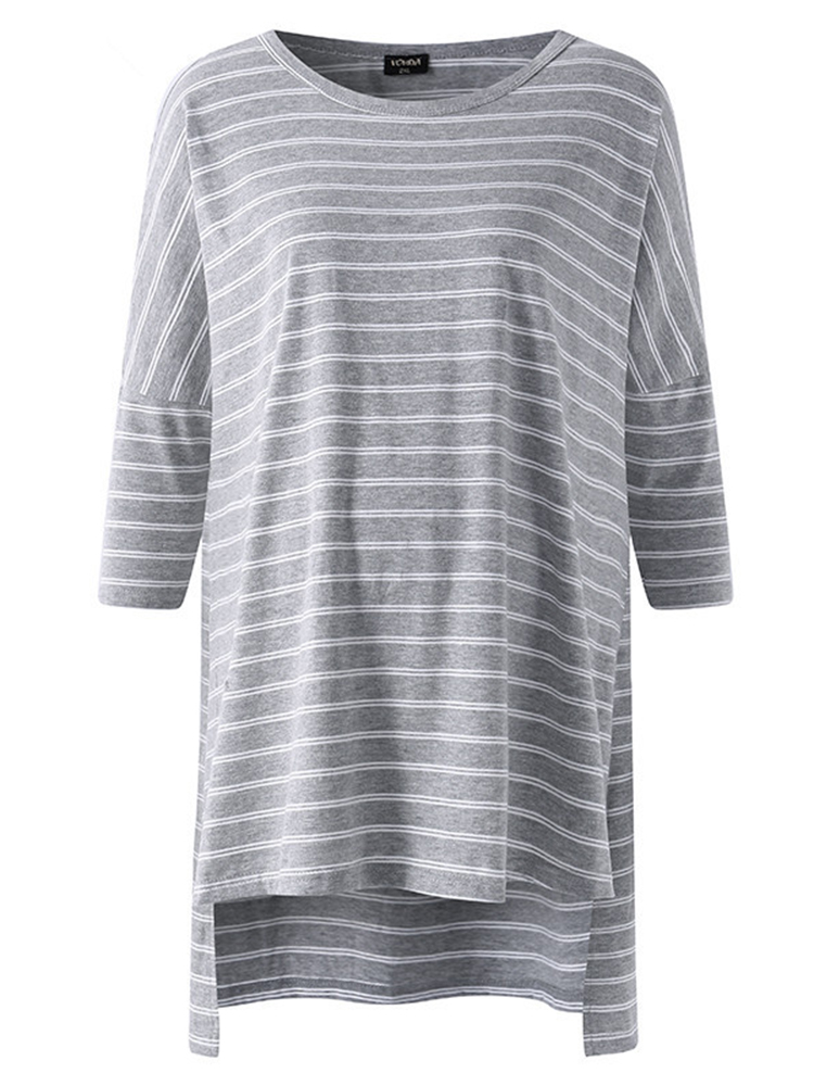 Women Striped Bat-wing Sleeve Loose Shirts