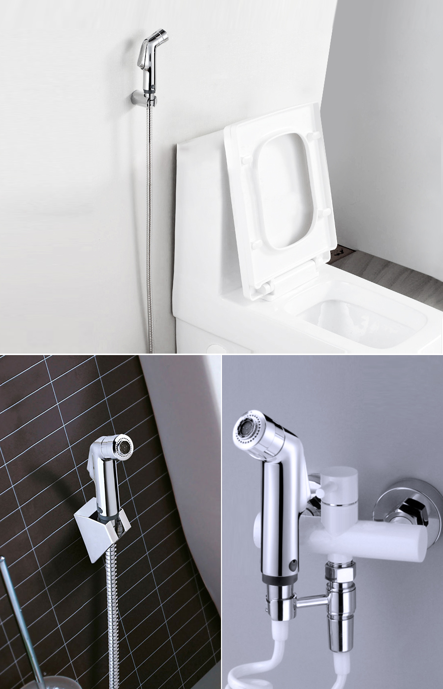 KCASA Double Modes Pressurize Bidet Shower Toilet Seat Shattaf Bathroom Kitchen Shower Head Sprayer