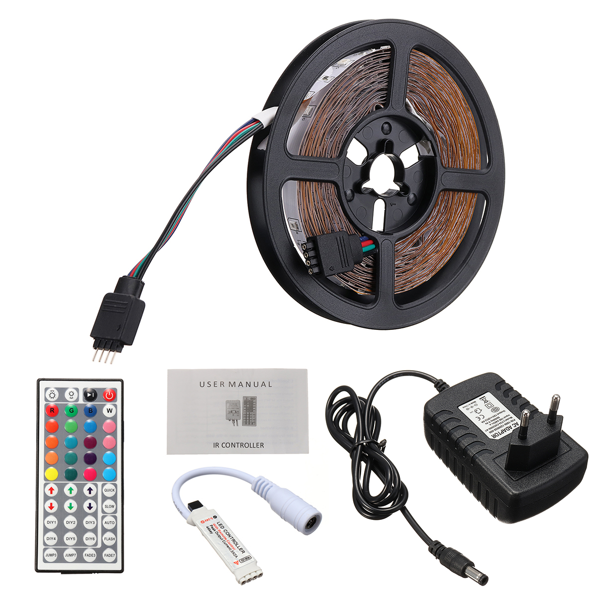5M SMD3528 Non-waterproof RGB 300 LED Strip Light+IR Controller+44Keys Remote Control+EU US Plug