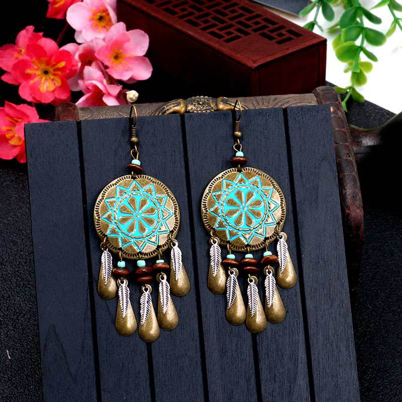 Bohemian Geometric Feather Shape Tassels Drop Earring