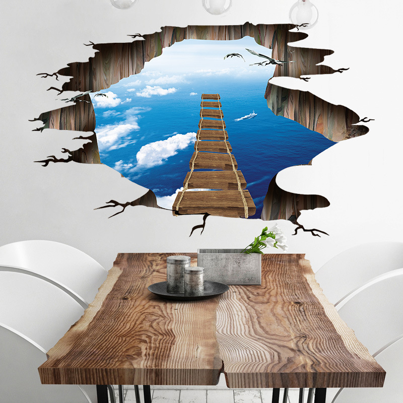 Miico Creative 3D Sky Suspension Bridge Broken Wall Removable Home Room Decorative Wall Door Decor Sticker
