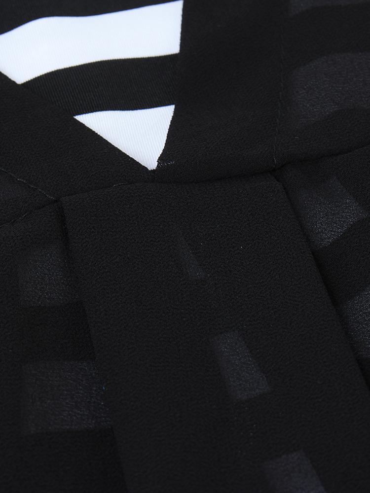 Elegant Women Short Sleeve Stripe Two-piece A-line Chiffon Dress