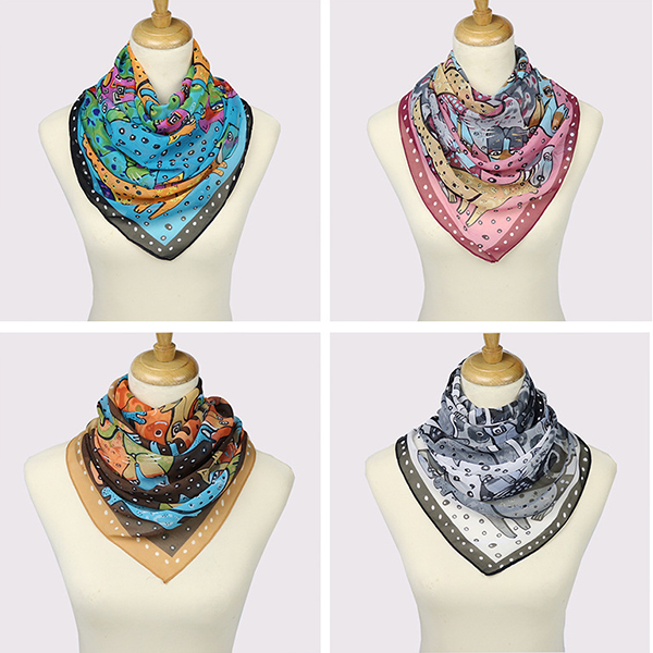 Women Chiffon Animal Printed Long Soft Scarf Casual Warm Shawl Scarves