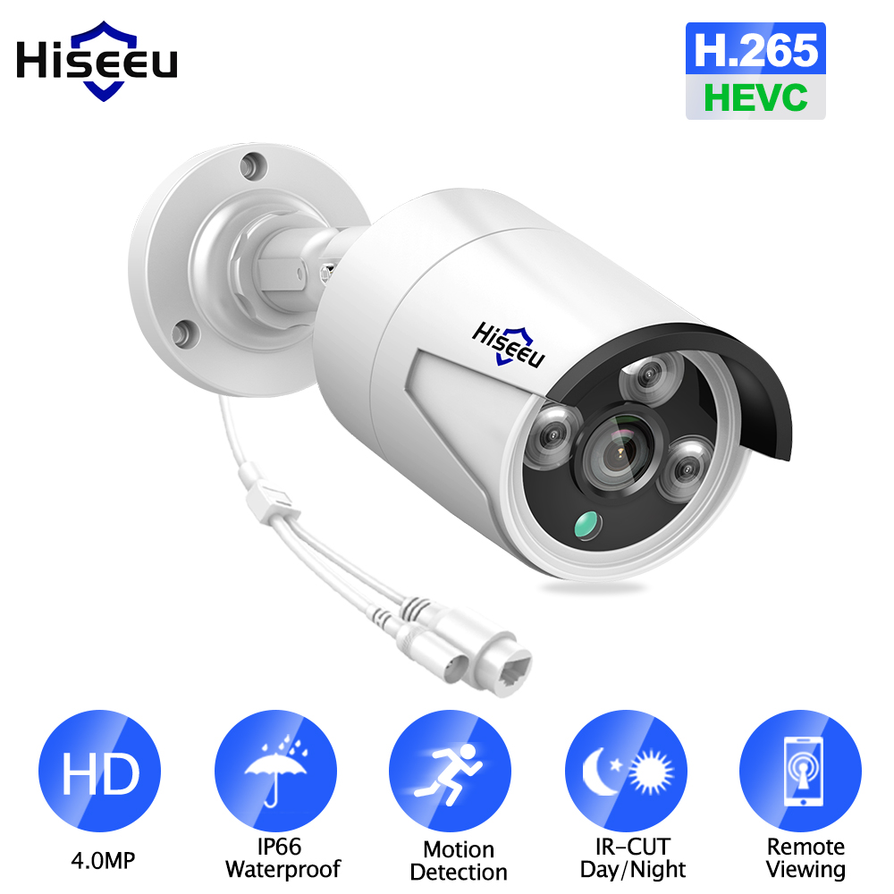 Hiseeu HB624 H.265 4MP Security IP Camera POE ONVIF Outdoor Waterproof IP66 CCTV P2P Video Camera