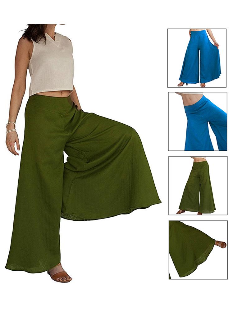 Loose Women Trousers Wide Leg Irregular Hem Culottes