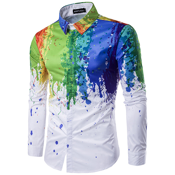 Mens Personality 3D ink Printing Fashion Casual Slim Fit Spring Autumn Cotton Blend Shirt