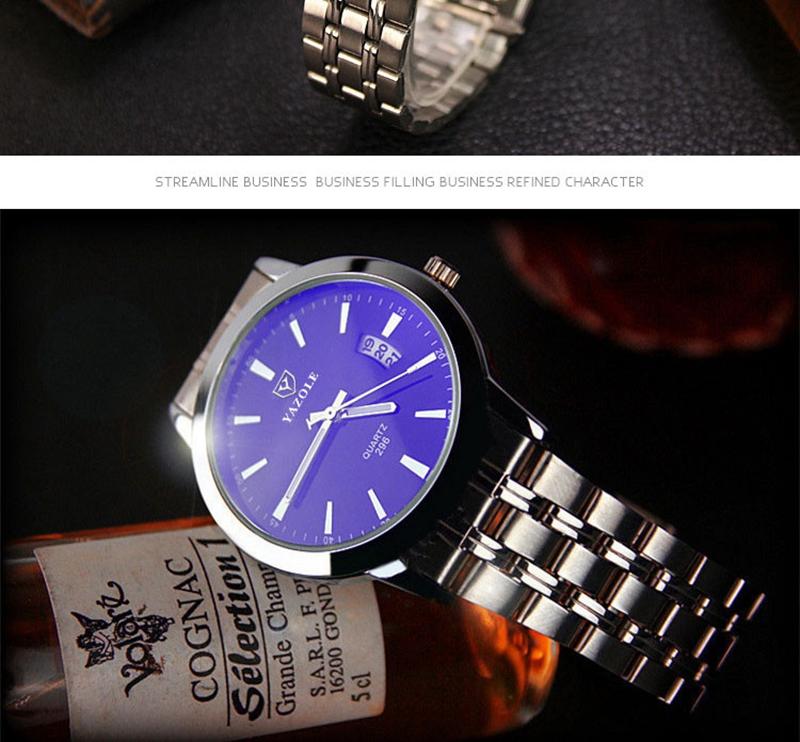 YAZOLE 296 Fashion Men Quartz Watch Casual Date Display Bussiness Wristwatch
