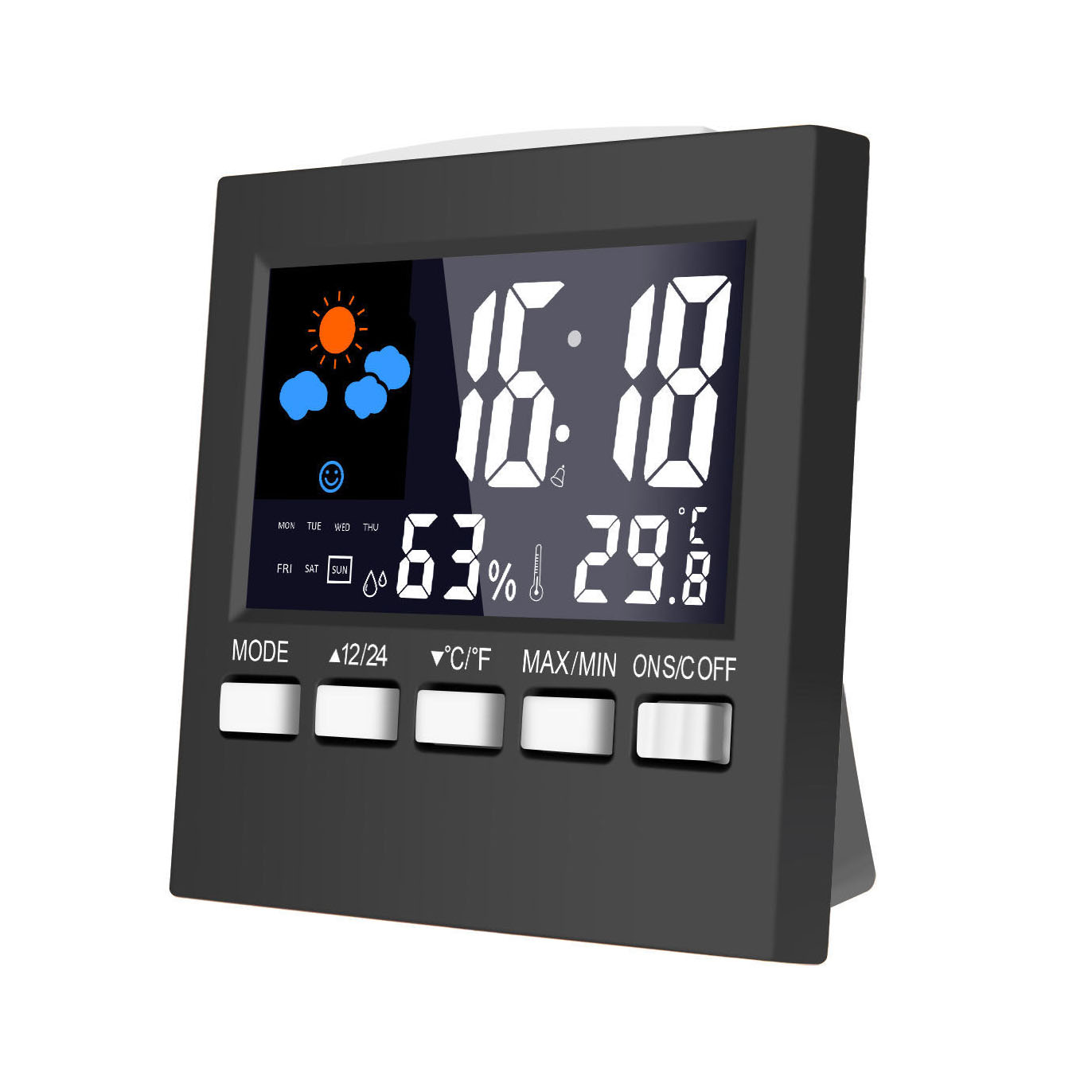 Loskii DC-003 Digital Wireless Hygrometer Therometer LED-projectie weerstation Alarm Klok