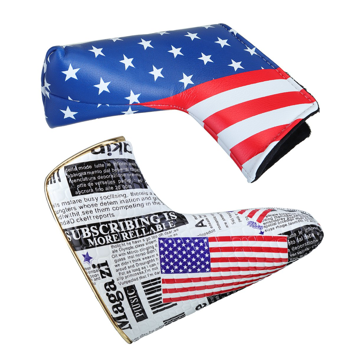 Sports Golf Putter Head Cover Club PU Headcover Universal American Flag Protector
