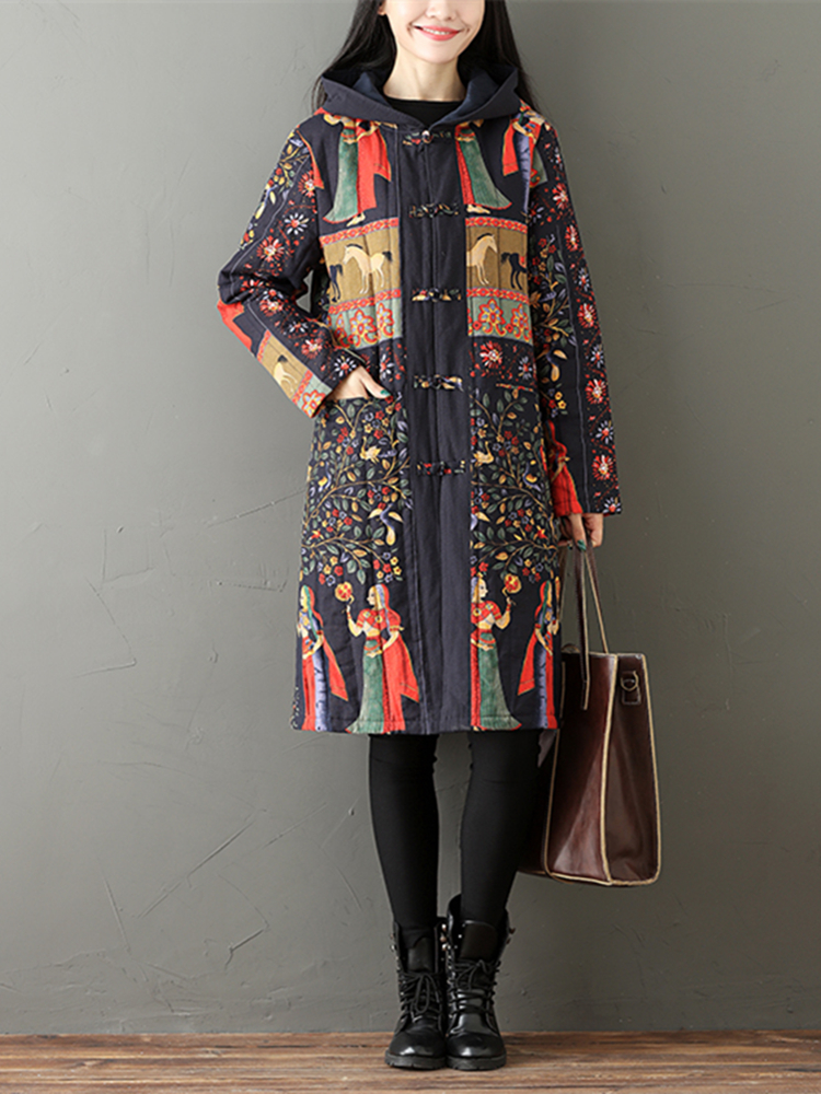 Ethnic Printed Thick Women Hooded Coat