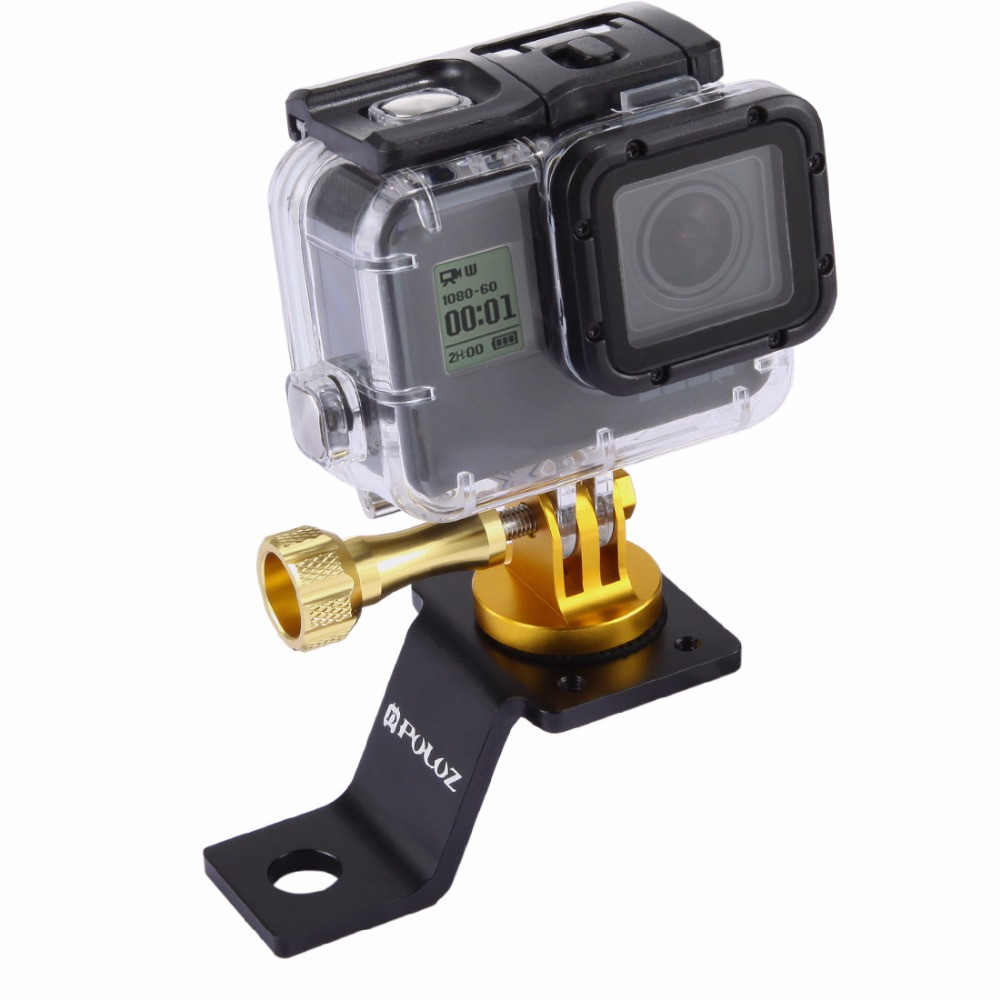 PULUZ PU114 Aluminum Alloy Motorcycle Fixed Holder Mount with Tripod Adapter Screw for Actioncamera
