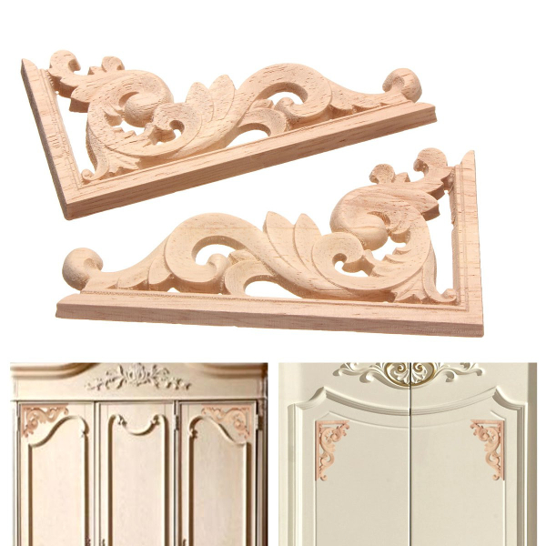 13*7CM Wood Carving Decal Corner Applique Frame for Wall Wardrobe Door Decoration