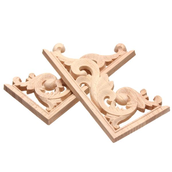 13*7CM Wood Carving Decal Corner Applique Frame for Wall Wardrobe Door Decoration