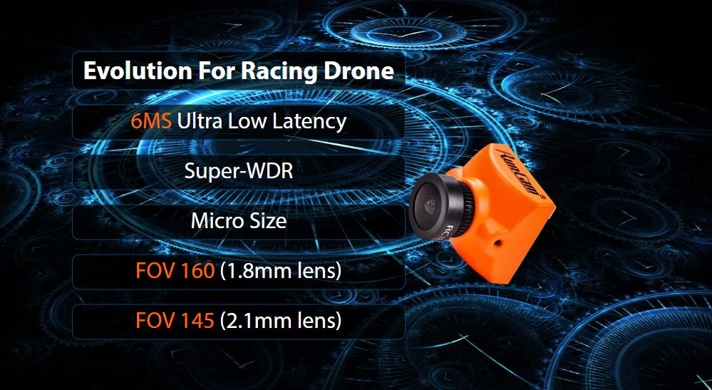 RunCam Racer 2 Super WDR CMOS 700TVL 1.8mm/2.1mm FPV Camera 6ms Low Latency W/ Selector Switch