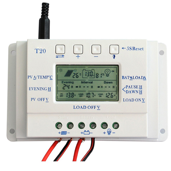 T20 20A 12V/24V PWM LCD Display Solar Panel Battery Regulator Charge Controller Three-time Interval Charger Controller Regulator