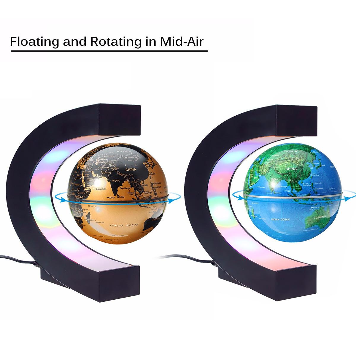 C Shape LED World Map Decoration Magnetic Levitation Floating Globe