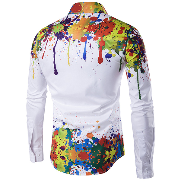 Mens New Autumn Winter Printing Thin 3D Long Sleeve Shirt