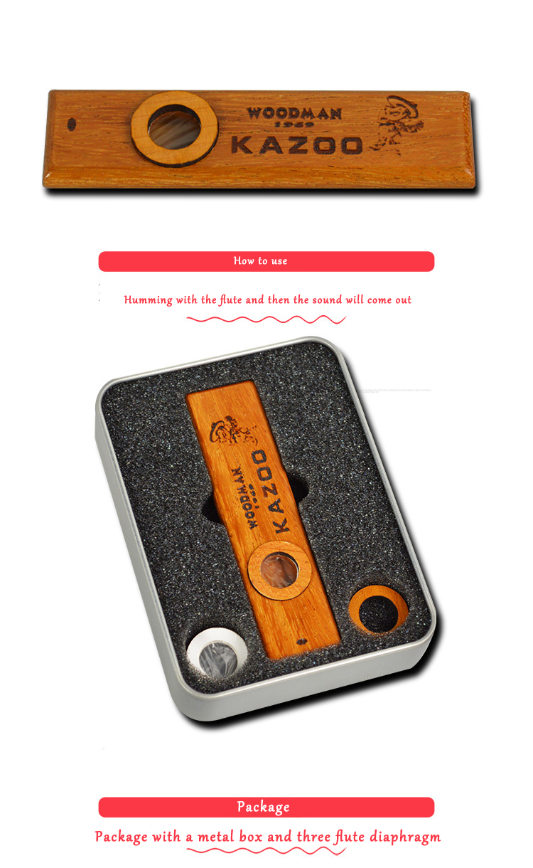 Wooden Kazoo with Metal Box for Music Player Kids Toy Gift