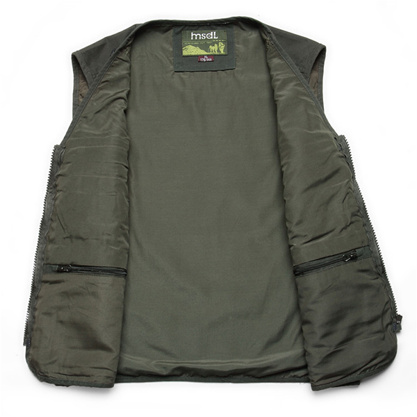 Mens Multi Big Pockets Outdoor Fishing Vest Solid Color Photographic Waistcoats
