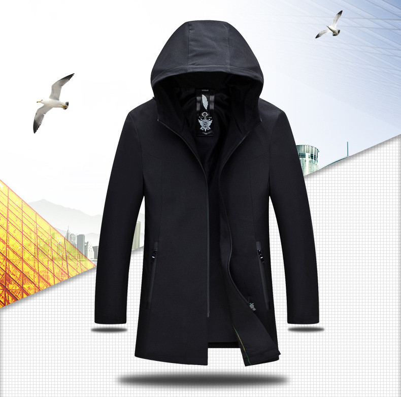 Fashion Zipper Long Style Trench Coat Leisure Business Hooded Windbreaker