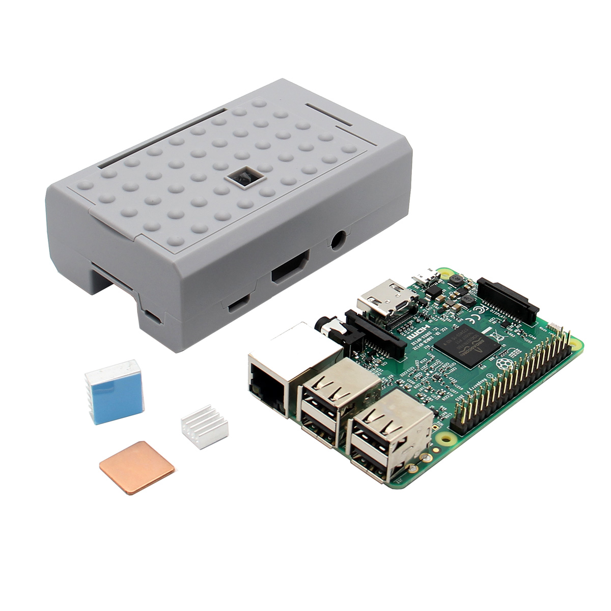 3 In 1 Raspberry Pi 3 Model B Board + Grey ABS Case She