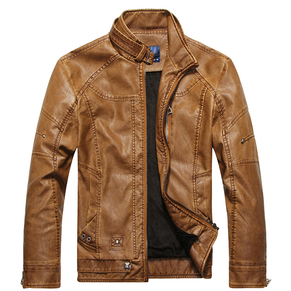 Faux Leather Thick Stand Collar PU Biker Motorcycle Jackets for Men
