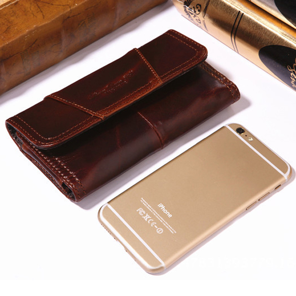 Casual Fashion Phone Pouch Men Vintage Leather Bag Multifunctional Waist Bag