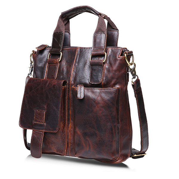 Ekphero® Retro Mens Bag Fashion Business Handbag Durable Real Leather Shoulder Bag