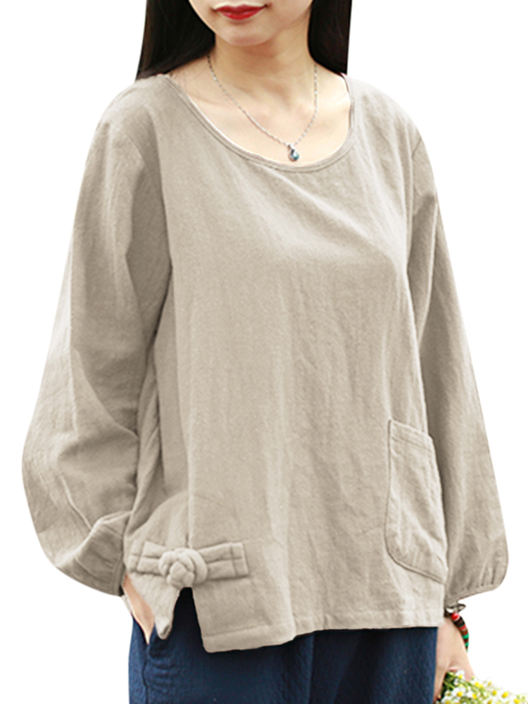 S-5XL Pocket Cotton Blouse