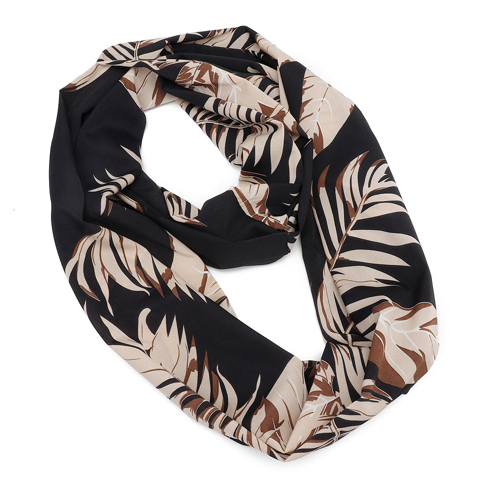 Unisex Hidden Zipper Pocket Flower Print Round Scarf