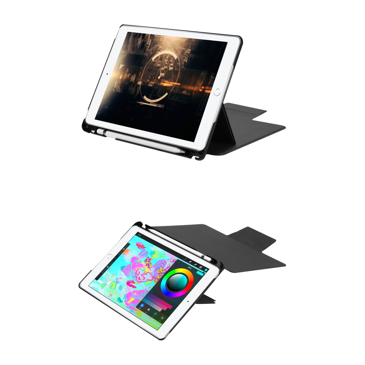 Detachable bluetooth Tempered Glass Keyboard Kickstand Case For New iPad 9.7 Inch 2017/iPad 9.7 Inch 2018