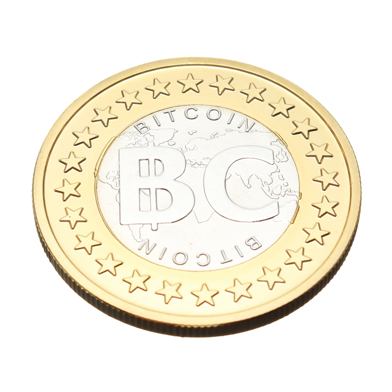1Pcs Gold Silver Plated Bitcoin Coin Model Collectible BTC Coin Decoration Crafts
