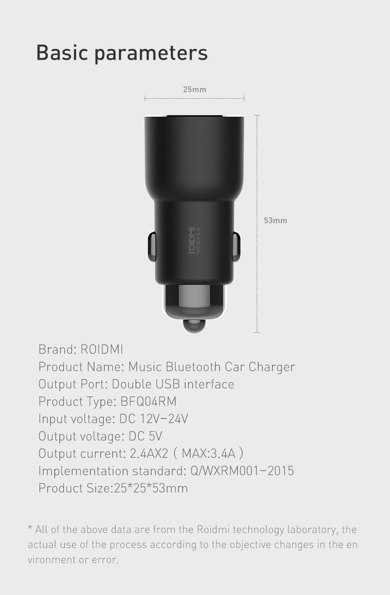 Xiaomi ROIDMI 3S BFQ04RM Dual USB Bluetooth Music Car Charger for Mobile Phone