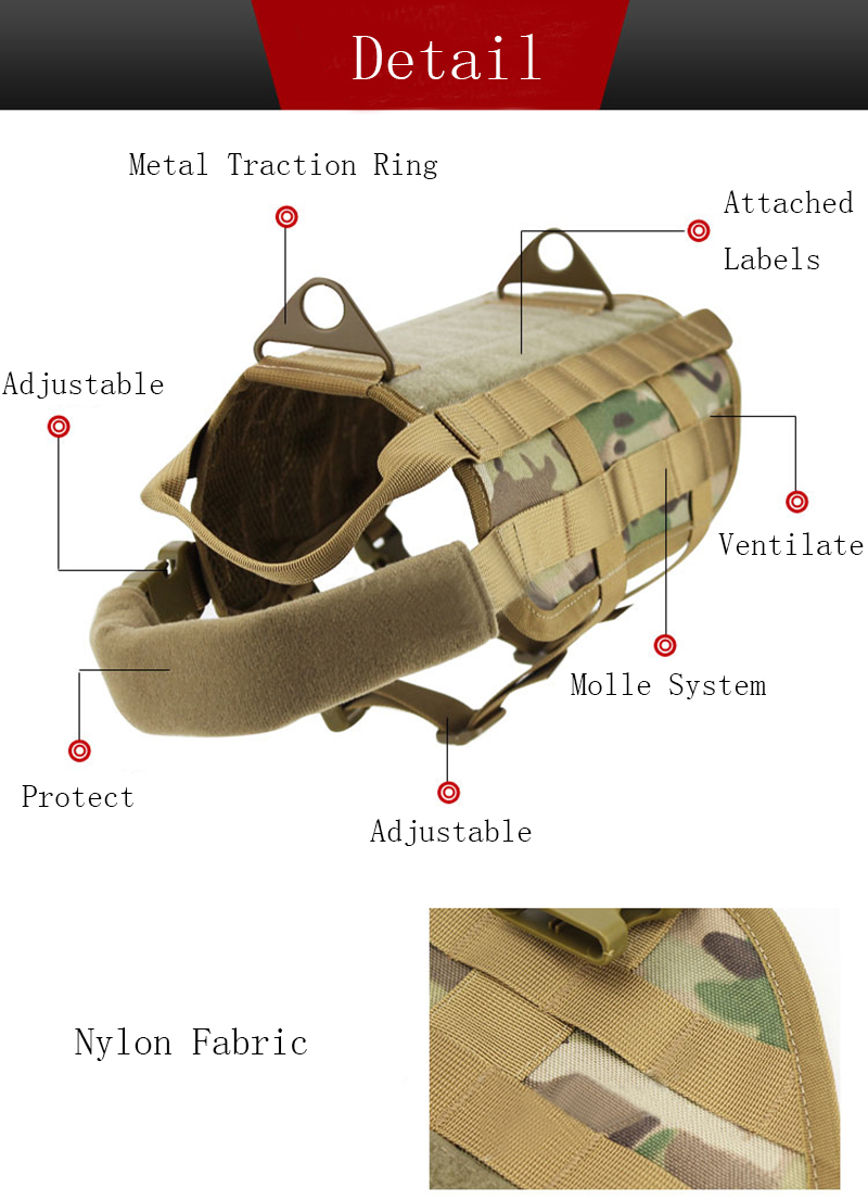 Army Tactical Dog Vest Hunting Dog Training Molle Vest Outdoor Military Dog Clothes