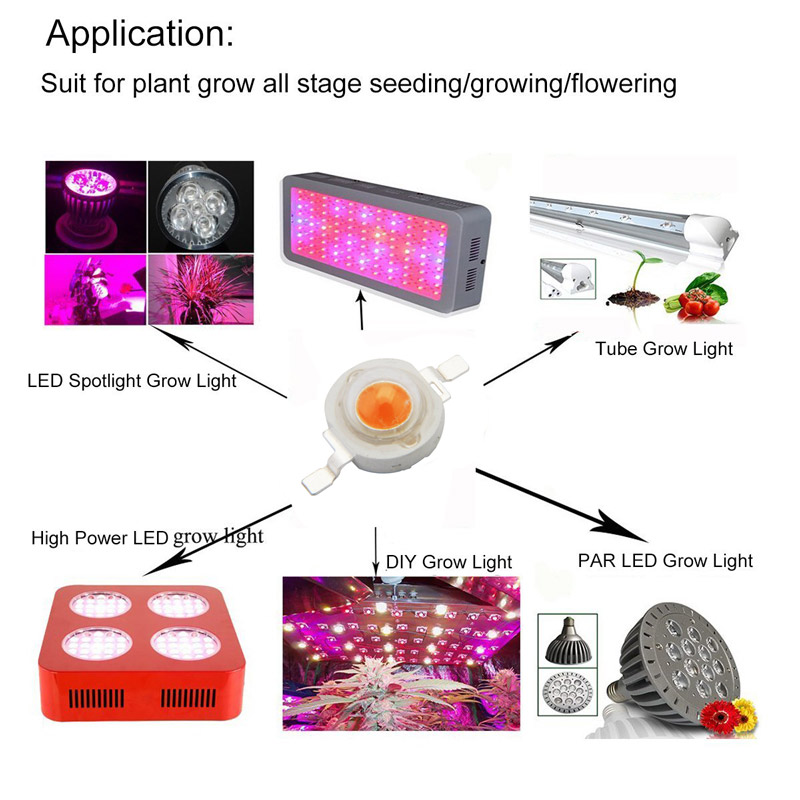 15pcs ZX 3W Full Spectrum Plant Growing DIY LED Lamp Chip Garden Greenhouse Seedling Lights