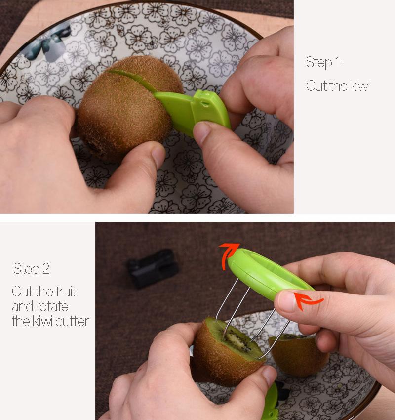 2 In 1 Vegetable Fruit Peeled Kiwi Cutter Device Digging Core Spiral Slicer Kitchen Peeler