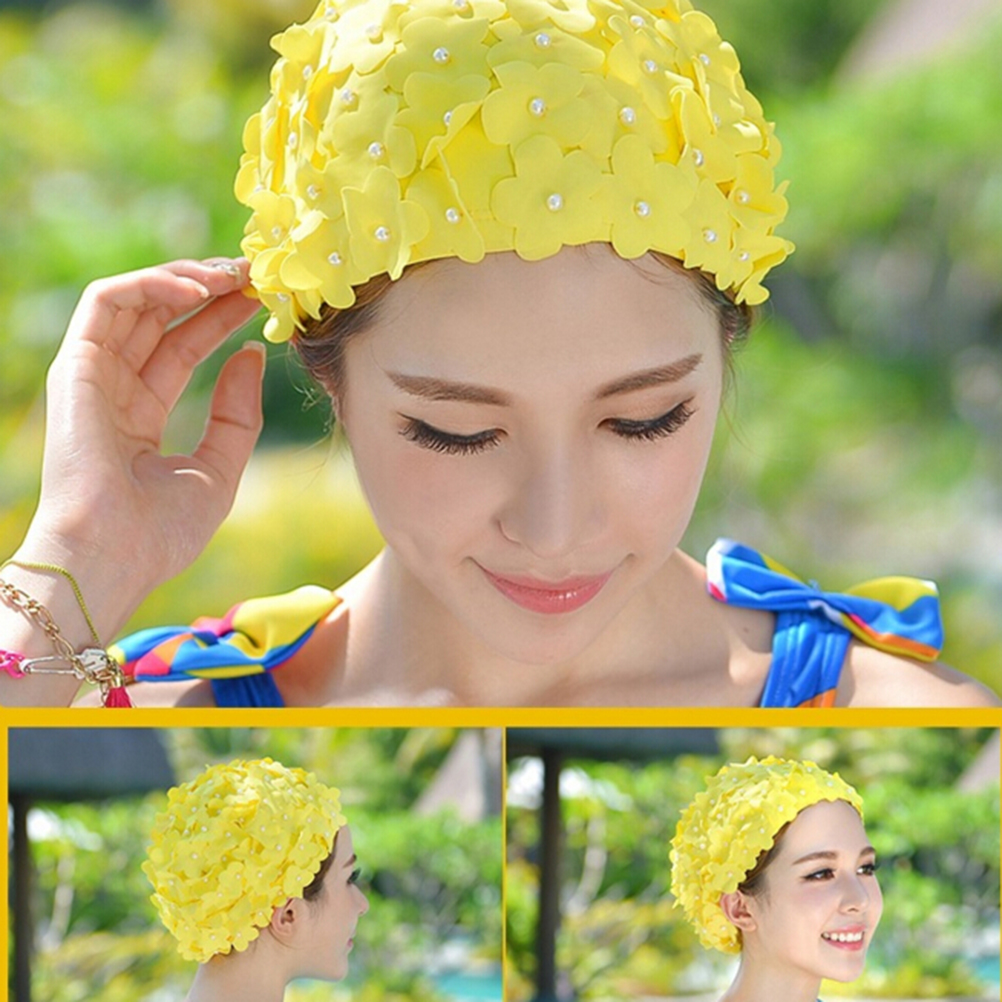 Handmade Pearl Colorful Printed Swimming Cap Free Size Flower Bathing Cap Protect Ears Hair