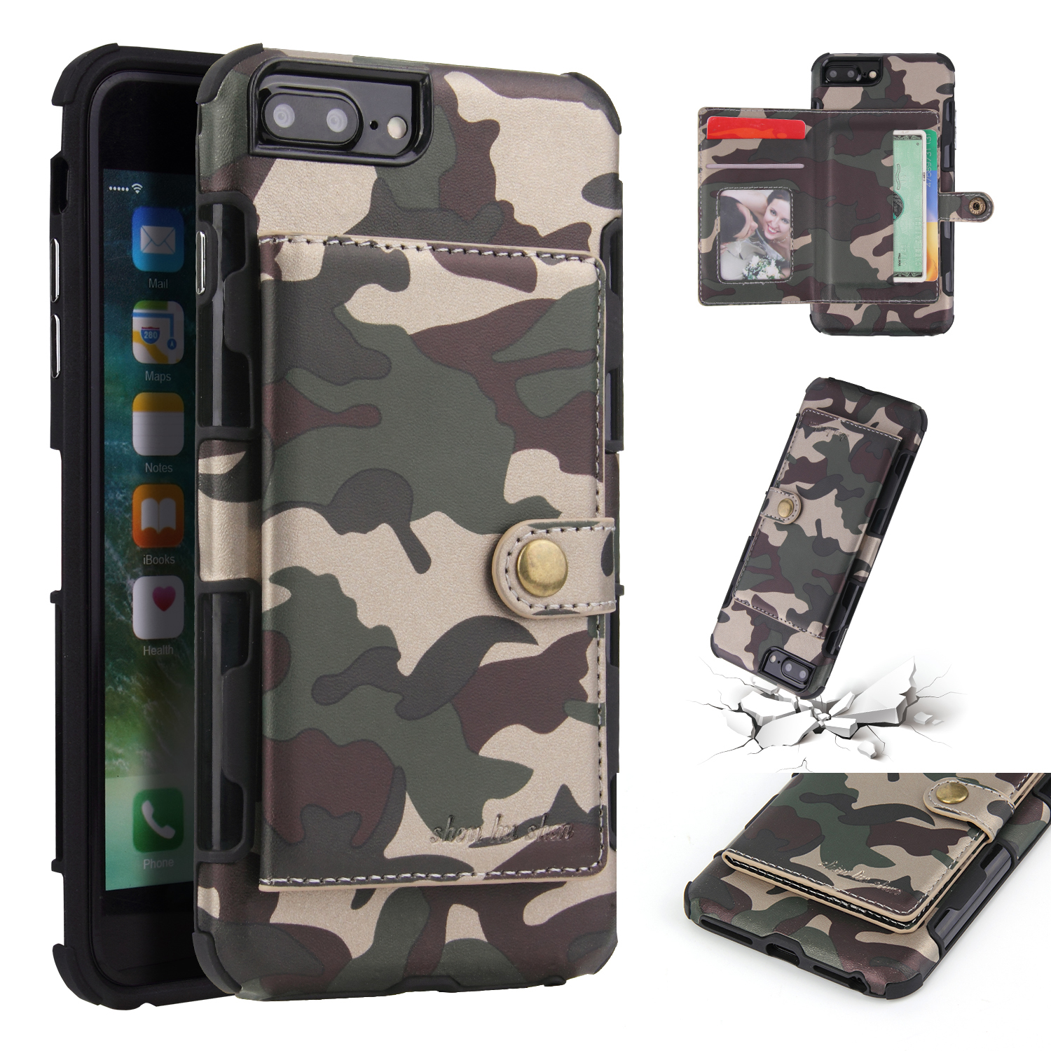 Camouflage Wallet Card Slots Protective Case For iPhone