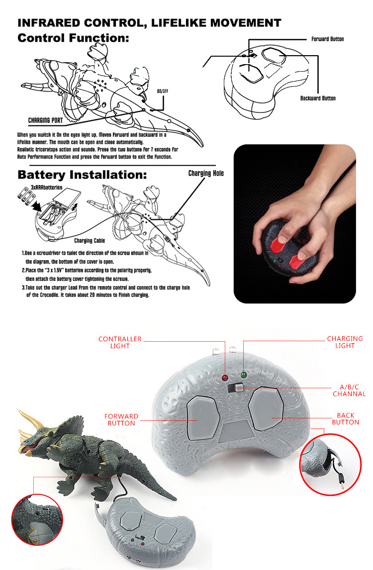 Infrared Remote Control Triceratops Electric Simulation Rc Toy For Tester P Marian Detectors Kids Children