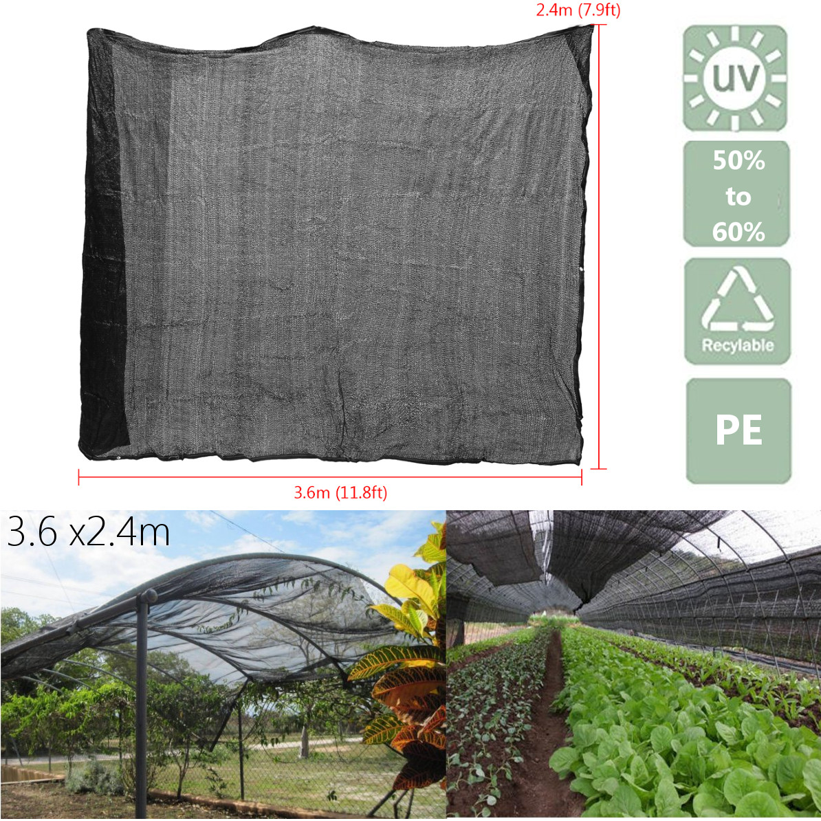 7.9x11.8ft Polyethylene Sun Block Shade Cloth for Plant Cover Greenhouse Barn or Kennel