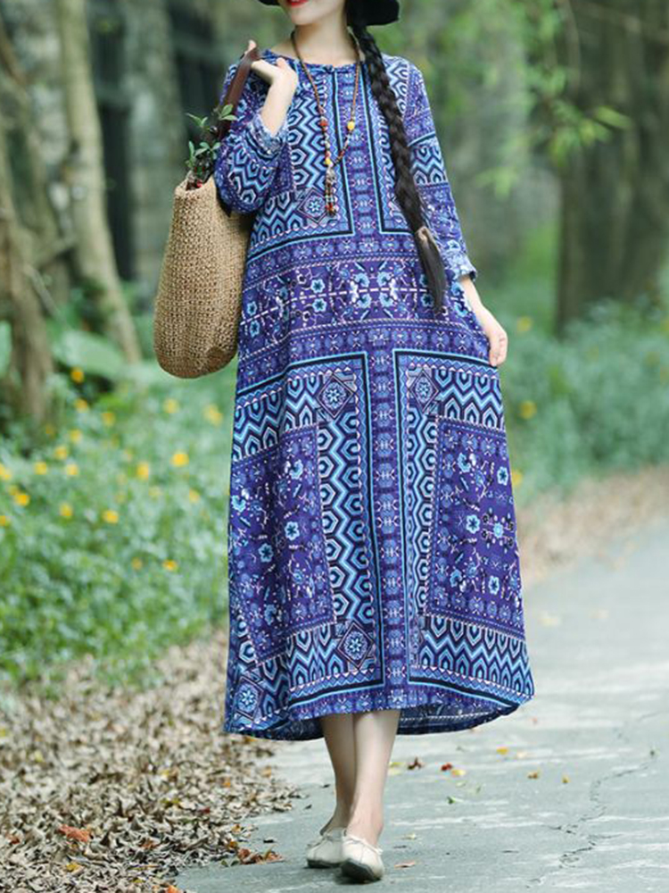 Women Folk Style Printed Long Sleeve Dress with Pocket