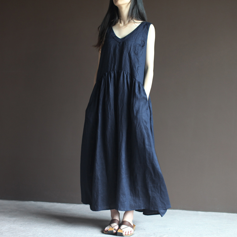 Vintage Women Sleeveless Linen Cotton Maxi Tank Dress