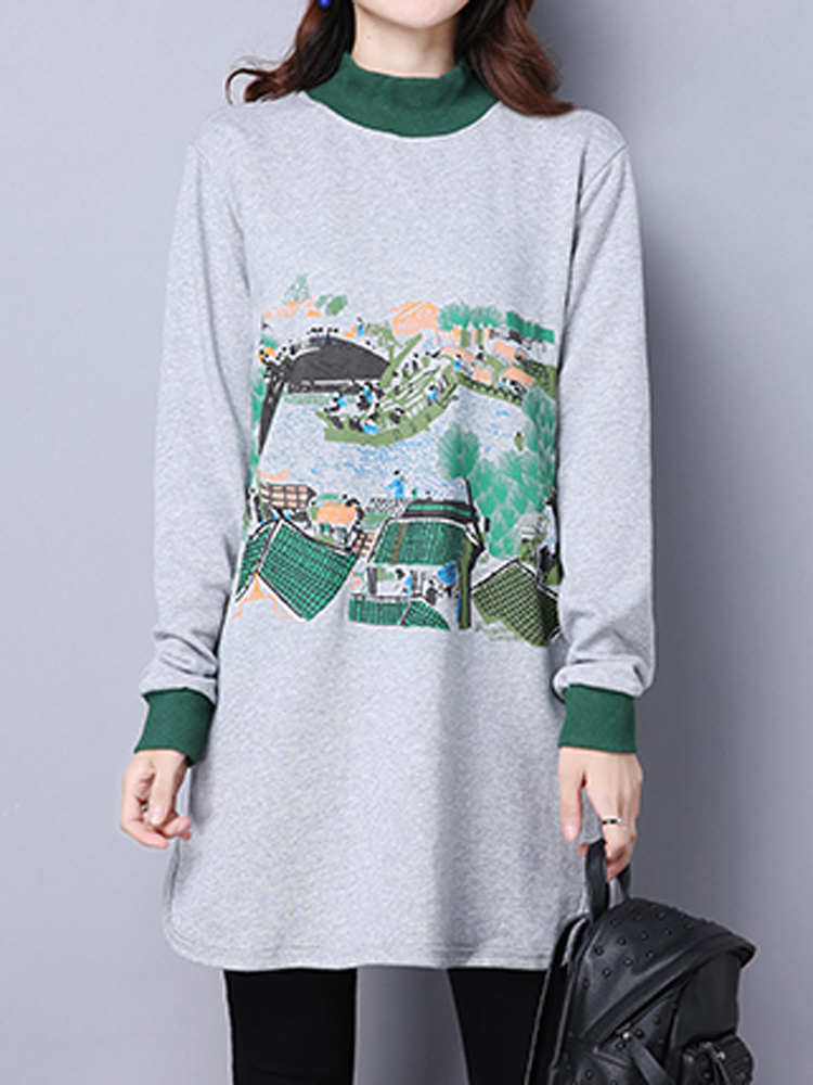 Chinese Riverside Map Long Sleeve Loose Women Vintage Sweatshirt Dress