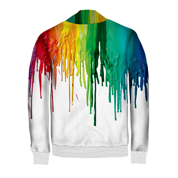 Rainbow Colorful Paint Dripping Print Single-breasted Snap Fastener Hip-hop Cardigan Bomber Jacket
