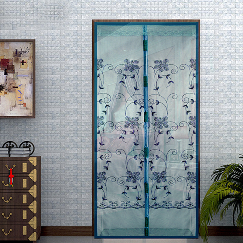 Honana WX-2 Noiseless Automatic Closing Door Curtain Magnetic Embroidered Flower Anti-mosquito Net